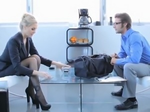 Sensuous Blonde in Office clothe has got laid great At the Business Meeting