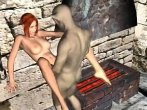 3D redhead babe gets fucked hard in a dungeon