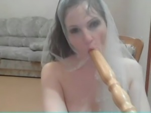 Russian beauty on webcam with chair