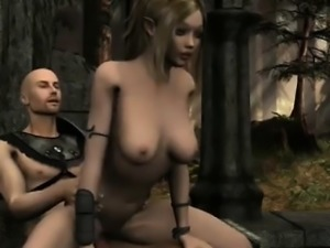 Blonde 3d elf girl sucks and gets fucked outdoors