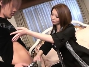 Horny asian playgirl rides on a thick sex tool naughtily