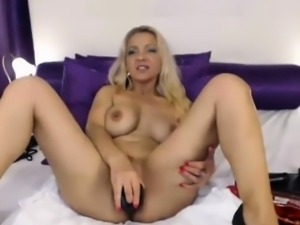 Dirty Blonde Mother Enjoying Her Black Dildo