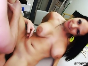 Angel faced tart Missy Martinez with bubbly butt satisfies dudes sexual needs...