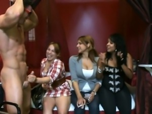 Sweet playgirl gets her pussy drilled during stripper party