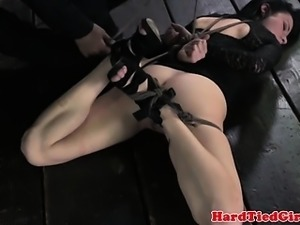 Bonded brunette submissive obeys master