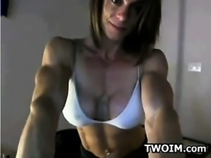 Bodybuilder Flexing On A Cam Show
