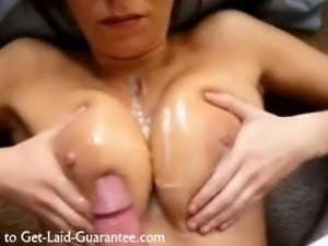 Hot MILF takes a cumshot on her boobs