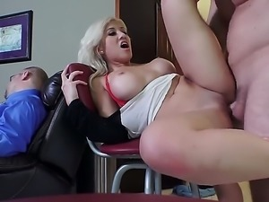 Blonde haired sexy Cristi Ann with sexy tits spreads her legs and gets her...