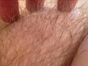 He loves teasing her pubic hair - Closeup HD