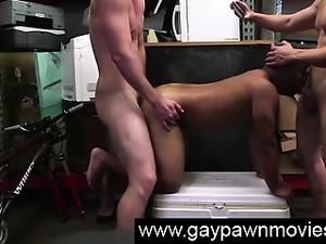 Black guy takes cumshot in gay threesome for cash