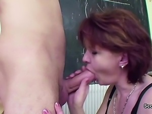 MILF Teacher show young boy how woman get pregnant