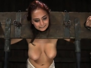 Enjoyable chick taken out from cage for hardcore punishment