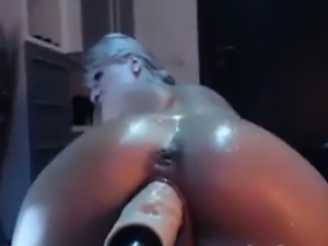 Horny Blonde With A Machine