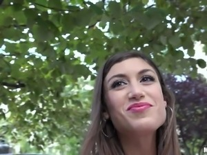 Spanish girl next door Julia Roca with beautiful smile bares her small tits...