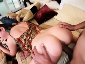 Bitch plays with huge black weenie by mouth and hands