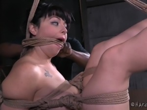 bound bitch gets poked with a dick on a stick