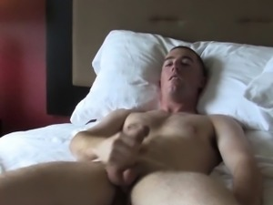 Solo ginger soldier jerking his cock