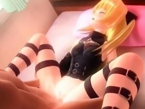Cute anime blonde riding horny cock on the floor
