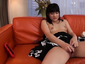 Small tits babe is using a vibrator