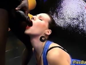 Weird whore drinks piss
