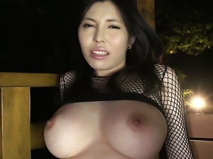Huge tits lady is getting massaged