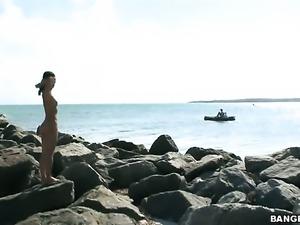 Cute naked asian girl Miako by the sea