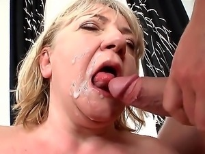 Granny has a hairy pussy. She gets a much younger guy to lick it. Then she...