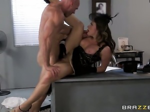 Johnny Sins plays with sex starved Chanel Prestons love box before he drills...