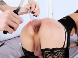 Tgirl beauties gets alternately ass fucked by a horny stud