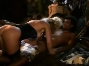Nina Hartley, Jon Dough in 80\'s porn video of a barbarian
