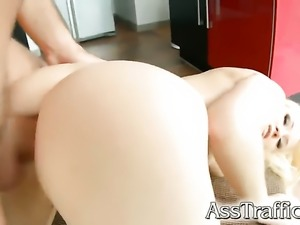 Anal gangbang for a blonde Russian