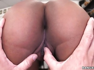 Brunette african Aaliyah Grey with round butt knows that massive face cumshot...