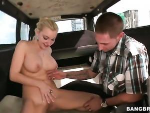 Busty babe fucks in the van
