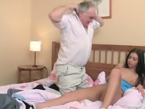 Small young girl experiences hardcore fucking by old knob