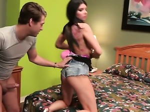 Romi Rain spends her sexual energy with sturdy fuck stick in her mouth