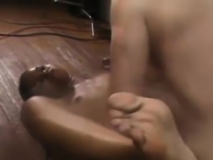 Kinky demoiselle makes a cock cum on her feet
