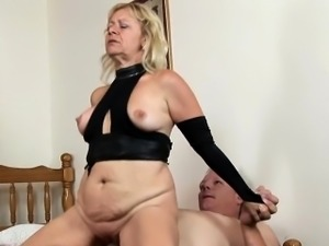 Aged hottie rides cock in a cowgirl and other poses