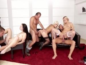 three lusty chicks enjoy sharing their partners