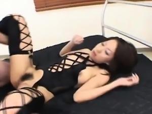 Tsubasa Okina naughty Asian milf in black sucks two fat