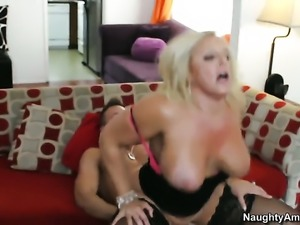 Bill Bailey gets turned on by Alexis Golden with juicy boobs and bald muff...