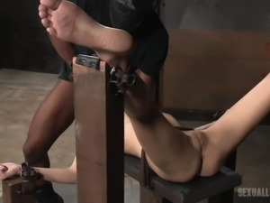 fragile blonde is chained to bench and fucked mercilessly