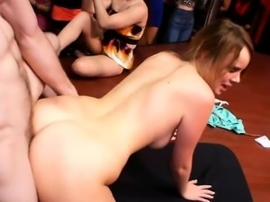 Pratty babe gets fucked in front of her friends.