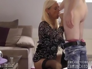 Horny Blonde MILF Filled With Cum