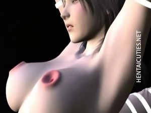 Horny 3D anime chick gets slit fisted