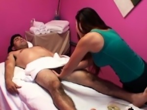 Real oriental massease riding on cock