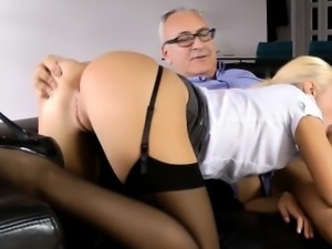 Teen tugs old man for cum