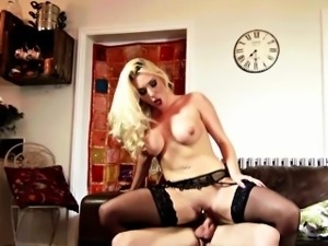 Naughty blonde gets banged really hard