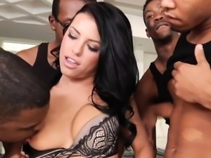 Interracial gangbanged beauty bukkaked