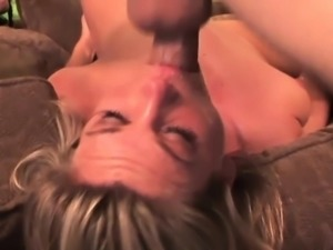 Kinky bitch gags on a massive shaft