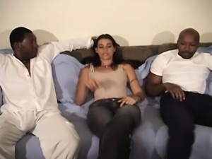 Adorable brunette plays out her sexual fantasy with three dark studs